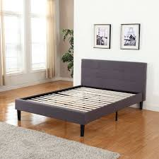 Fabric Platform Bed Classic Deluxe Linen Fabric Platform Bed With Wooden Slats In Grey