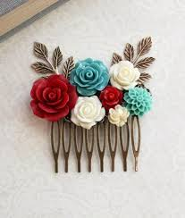 floral accessories floral bridal comb teal and hairpiece boho chic wedding
