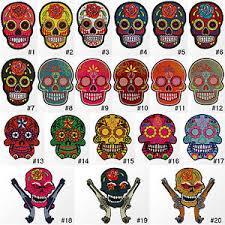 3500r flower sugar skull biker embroidered sew iron on