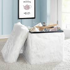 mongolian fur collapsible storage cube in white bed bath u0026 beyond