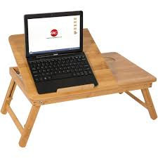 100 bamboo adjustable laptop table computer desk tilting top w