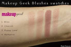 makeup geek blushes bliss cherish puppy love romance swatches