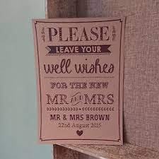 Wedding Wishes Book Personalised Wishing Well Wishes Vintage Buff Wedding Guest Book