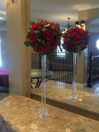 Tower Vase Centerpieces Red Rose Ball On An Eiffel Tower Vase U2013 Self Serve Wedding Rentals
