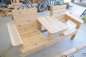 Wooden Deck Bench Plans Free by How To Build A Double Chair Bench With Table Free Plans