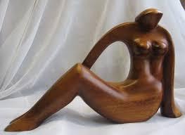 artist sign delbrune haiti carved wood modernist