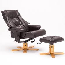Recliner With Ottoman Amazon Sgs Leather Massage Recliner Chair With Ottoman Set Brown