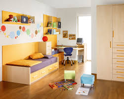 white themed modern kids room design with corner space wood brown