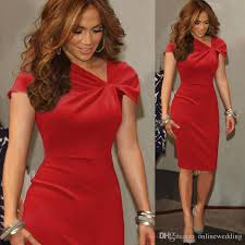 knee length women red cocktail dresses cap sleeves sheath short