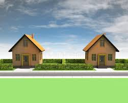 two houses in neighborhood with blue sky stock illustration