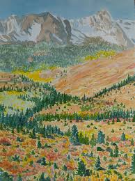 Mountain Landscape Paintings by Watercolor Autumn Rocky Mountain Landscape Painting By Cascade