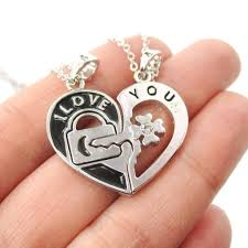 couple necklace key images 2 piece heart shaped lock and key quot i love you quot necklace in silver jpg