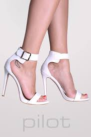 barely there strappy high heel ankle strap sandals in white