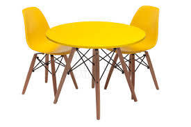 furniture yellow furniture with eames chair replica and round