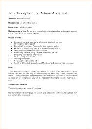 Home Health Aide Job Description For Resume by Administrative Assistant Job Description Resume Resume For Your