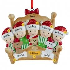 bed family of 5 with 3 pets ornament personalized ornaments for you