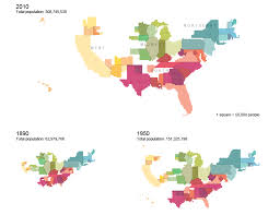 map us states population cartograms of state populations in 1890 1950 and 2010