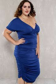 royal blue ruched one shoulder ruched plus size party dress