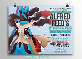 Where To Buy Birthday Invitation Cards Kids Party Invitation Pokemon Lucario Printable Invitations