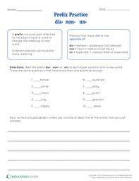 prefixes worksheets education com