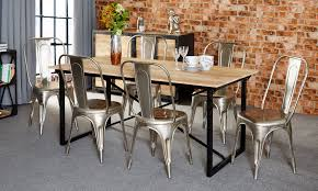 Industrial Dining Table Bonsoni Baudouin Industrial Dining Set 6 Seater With Grey Chairs