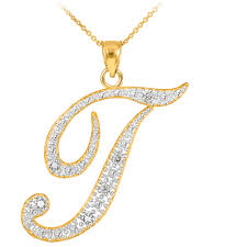 necklace letter pendant images 14k gold letter script quot t quot diamond initial pendant necklace jpg