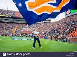 College Flag An Auburn Cheerleader With A Flag During The Ncaa College Football
