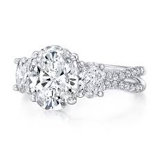 three stone engagement rings uneek oval diamond three stone engagement ring with pave