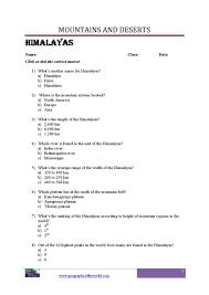 world mountains geography worksheets printable pdf files