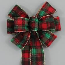 plaid christmas country flannel plaid christmas bow 2 sizes package bows