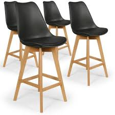 chaises hautes cuisine lot de 4 chaises hautes scandinaves bovary noir achat vente