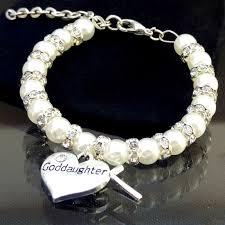 Goddaughter Charm Baby Girls Ivory Goddaughter Cross Christening Bracelet God