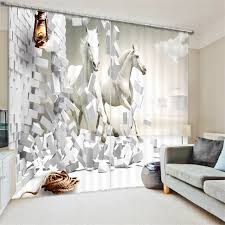 Hotel Room Darkening Curtains Black White Painting Blackout Curtains Living Room Hotel