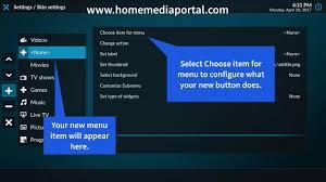 customize home how to customize kodi home screen add menu item youtube