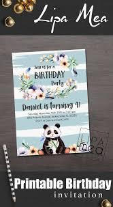 boy birthday invitation printable panda birthday invitation