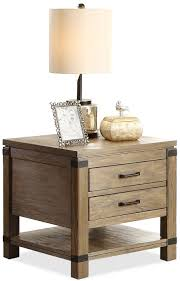 End Table With Shelves by Rectangular 2 Drawer End Table With 1 Shelf By Riverside Furniture