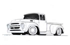 vintage truck drawing custom pickup truck drawing by