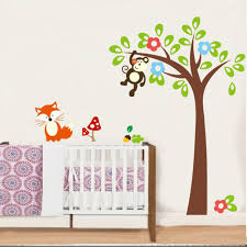 jungle forest animal fox with monkey on the tree nursery wall art jungle forest wall decal fox wall sticker monkey wall art