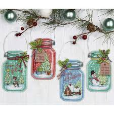 dimensions jar ornaments counted cross stitch