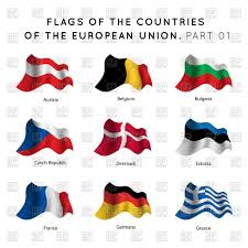 Flags Of European Countries Waving Flags Of Eu Countries Royalty Free Vector Clip Art Image