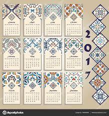 vector calendar 2017 portuguese azulejo moroccan