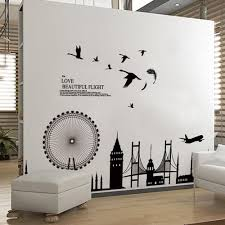 wallpapers for home interiors removable wall sticker city silhouette buildings art decals mural