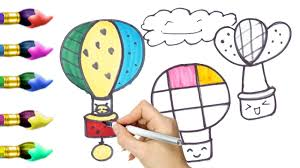 how to draw air balloon u0026 colouring pages for kids learning video