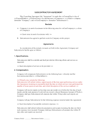 Contractor Letter Of Intent Template by Subcontractor Short Form Contract Contractor And Employee