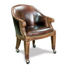 poker chairs with casters u0026 custom leather ivey collection