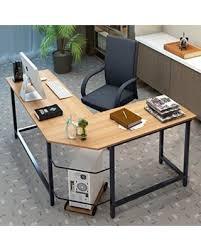 Corner Computer Table Big Deal On Tribesigns Modern L Shaped Corner Computer Desk Teak