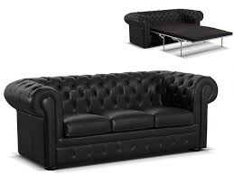 canapé chesterfield canapé chesterfield 3 places convertible cuir londres noir