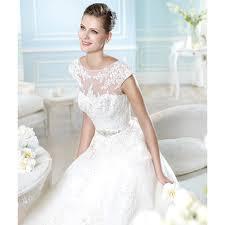 elegant sweep a line round neckline short sleeves lace wedding