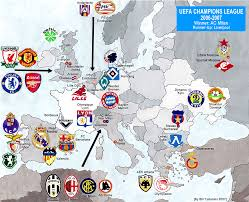 07 World Map by Champions League 2006 2007 Map Billsportsmaps Com