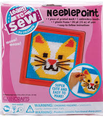 quincrafts learn to sew needlepoint kit cat joann